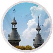 Flight Over The Crescents Round Beach Towel