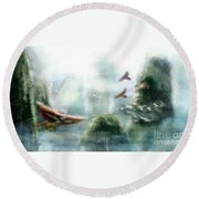 Flight Through The Mountains Round Beach Towel