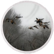 Flight To The Fields Round Beach Towel
