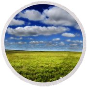 Flint Hills Panorama 1 Round Beach Towel