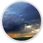 Flint Hills Storm Panorama 2 Round Beach Towel