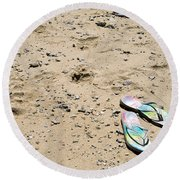 Flipflops Round Beach Towel