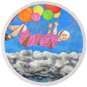 Floating Above Storm Clouds Round Beach Towel
