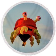 Floating Aerial Photographer And The Smiling Crab Round Beach Towel