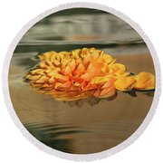Floating Beauty - Hot Orange Chrysanthemum Blossom In A Silky Fountain Round Beach Towel