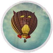 Floating Cat - Hot Air Balloon Round Beach Towel