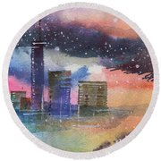 Floating City Round Beach Towel