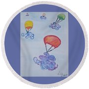 Floating Clouds Round Beach Towel