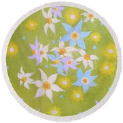 Floating Flowers Round Beach Towel