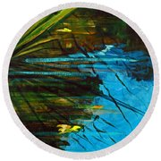 Floating Gold On Reflected Blue Round Beach Towel
