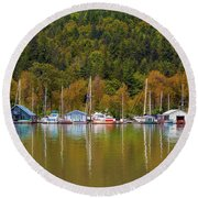 Floating Homes Along Multnomah Channel In Portland Oregon Round Beach Towel