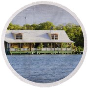 Floating House In La Parguera Puerto Rico Round Beach Towel