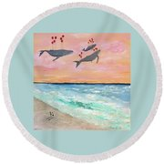 Floating Into The Sunset Round Beach Towel