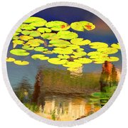 Floating Lily Pond Round Beach Towel