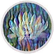 Floating Lotus - Peace In Our Lifetime Round Beach Towel