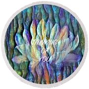 Floating Lotus - Thinking Of You Round Beach Towel