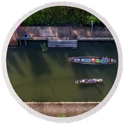 Floating Market Aerial View Round Beach Towel by Pradeep Raja PRINTS