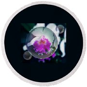 Floating Orchid Round Beach Towel