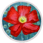 Floating Poppy Round Beach Towel