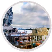 Floating Village Thailand Round Beach Towel