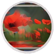 Floating Wild Red Poppies Round Beach Towel