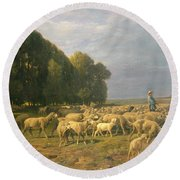 Flock Of Sheep In A Landscape Round Beach Towel by Charles Emile Jacque