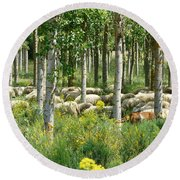 Flock Of Sheep With A Goat Round Beach Towel