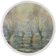 Flood In Giverny Round Beach Towel
