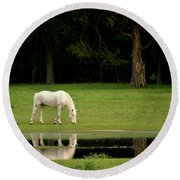 Flooded Field In May Round Beach Towel