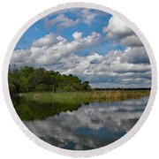 Flooded Low Country Rice Field Round Beach Towel
