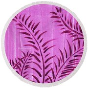 Flora Fauna Tropical Abstract Leaves Painting Magenta Splash By Megan Duncanson Round Beach Towel
