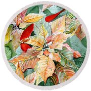 A Peachy Poinsettia Round Beach Towel