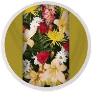 Floral 1 Round Beach Towel