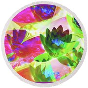 Floral Abstract #3 Round Beach Towel