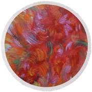 Floral Abstract, Sunshine Bouquet Round Beach Towel