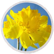 Floral Art Bright Yellow Daffodil Flowers Baslee Troutman Round Beach Towel