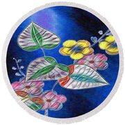 Floral Art Illustrated Round Beach Towel