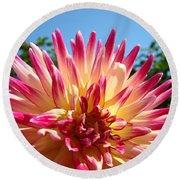 Floral Art Pink Yellow Dahlia Flower Baslee Troutman Round Beach Towel