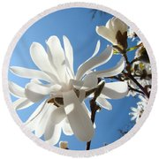 Floral Art Print Landscape Magnolia Tree Flowers White Baslee Troutman Round Beach Towel