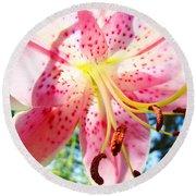 Floral Art Print Pink Summer Lily Flower Lilies Baslee Troutman Round Beach Towel