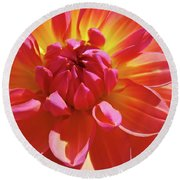 Floral Art Prints Orange Pink Dahlia Flower Baslee Troutman Round Beach Towel
