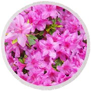 Floral Art Prints Pink Azalea Garden Landscape Baslee Troutman Round Beach Towel