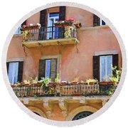 Floral Balcony Round Beach Towel