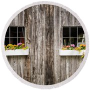 Floral Barn Planters Round Beach Towel