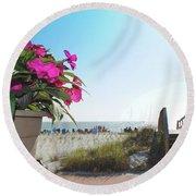 Floral Beach Round Beach Towel