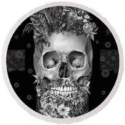 Floral Beard Skull 3 Round Beach Towel