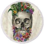 Floral Beard Skull Round Beach Towel