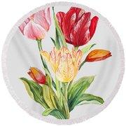Floral Botanicals-jp3788 Round Beach Towel