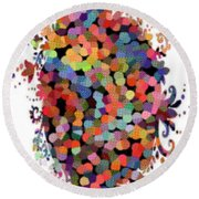 Floral Bouquet Abstract With Dots Round Beach Towel