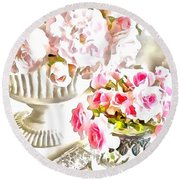 Floral Bouquets Pink Roses  Round Beach Towel